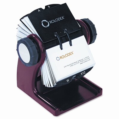 Rolodex Corporation Wood Tones Open Rotary Business Card File Holds 400 2-5/8 x 4 Cards, Mahogany