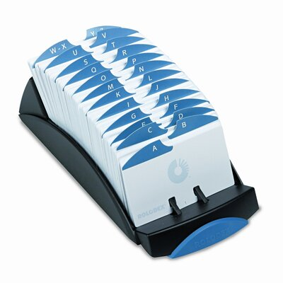 Rolodex Corporation VIP Open Tray Card File with 24 A-Z Guides Holds 500 2-1/4 x 4 Cards, Black