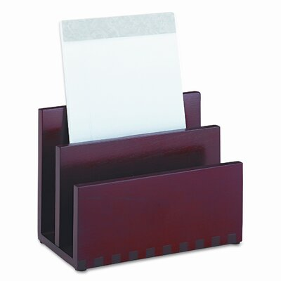 Rolodex Corporation Harmony Wood Mini Sorter, Two Sections, Mahogany