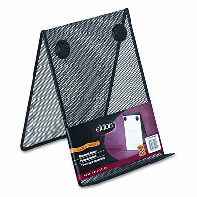 Rolodex Corporation Nestable Wire Mesh Freestanding Desktop Copyholder, Stainless Steel, Black