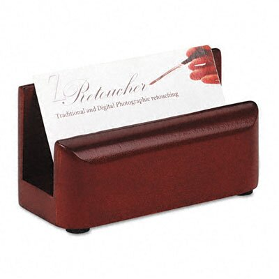 Rolodex Corporation Wood Tones Business Card Holder, Capacity 50 2-1/4 x 4 Cards, Mahogany