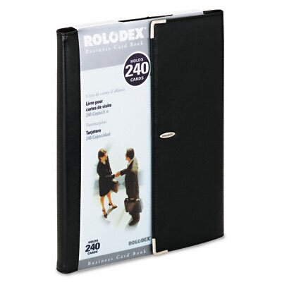 Rolodex Corporation Faux Leather Business Card Book Holds 240 2-1/4 x 4 Cards, Black/Silver