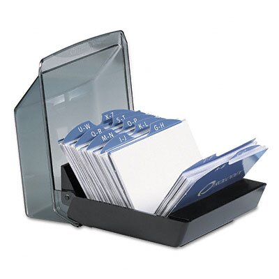 Rolodex Corporation Covered Tray Business Card File Holds 100 2-5/8 x 4 Cards, Black/Smoke