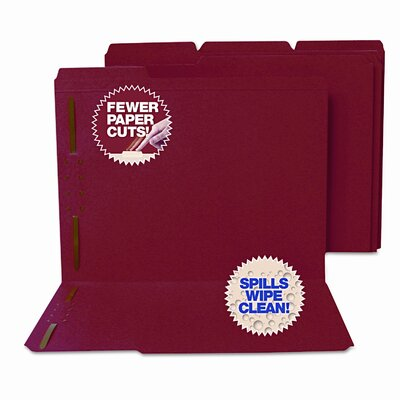 S&J PAPER Water/Paper Cut-Resistant Folders, 2 Fastener, 1/3 Cut, Top Tab, Ltr, Red, 50/Bx