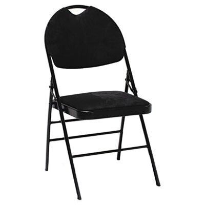 Cosco XL Series Fabric Padded Folding Chairs, Black Fabric/Black Frame, Four/Carton