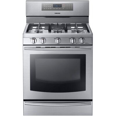 Samsung Gas Freestanding Range with Custom Griddle, Wok Grate, 5.8 Cu. Ft. True Convection Oven ...