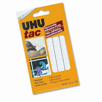Saunders Manufacturing Tac Adhesive Putty Squares, Removable/Reusable, Nontoxic, 2.12 oz./pack