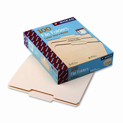 Smead Manufacturing Company 1/3 Cut Second Position One-Ply Top Tab File Folders, Letter, 100/Box