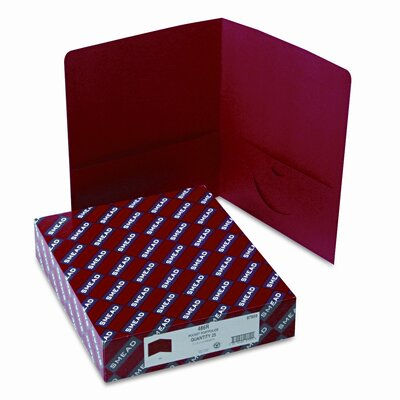Smead Manufacturing Company Two-Pocket Portfolio, Embossed Leather Grain Paper, 100-Sheet Capacity, Red
