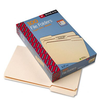 Smead Manufacturing Company File Folders, 1/3 Cut Assorted Positions, 1-Ply Top Tab, Legal, Manila, 100/Box