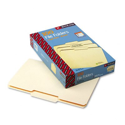 Smead Manufacturing Company 1/3 Cut Second Position One-Ply Top Tab File Folders, 100/Box