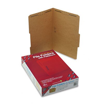 Smead Manufacturing Company Two Fasteners 2/5 Cut Top Tab 11 Point Kraft Folders, Legal, 50/Box