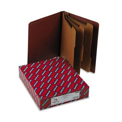 Smead Manufacturing Company Pressboard End Tab Classification Folders, Letter, 8-Section, Red, 10/box