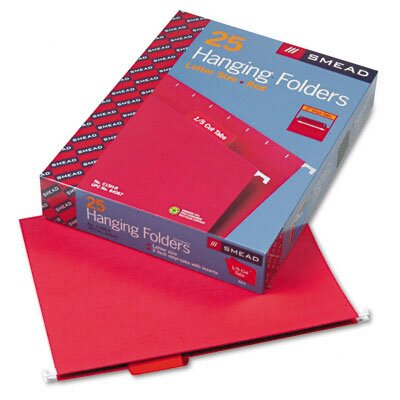 Smead Manufacturing Company Hanging File Folders, 1/5 Tab, 11 Point Stock, Letter, Red, 25 per Box