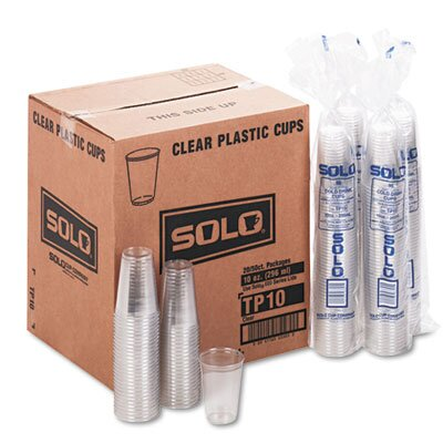 Solo Cup Company Plastic Party Cold Cups, 10 Ounces, Clear, 20 Bags of 50 per Carton                                                          