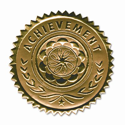 "Southworth Company Certificate Seals ""Achievement"" Embossed Foil, 12/Pack"