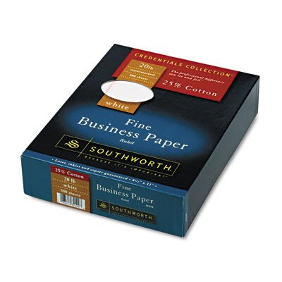 Southworth Company 25% Cotton Business Paper, 20 Lbs., Wove, 500/Box, Fsc