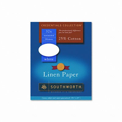 Southworth Company Credentials Collection Fine Linen Paper, White, Letter, 250 Sheets per Box