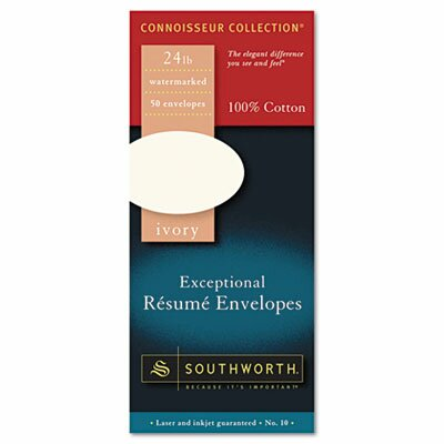 Southworth Company 100% Cotton #10 Resume Envelope, 24 Lbs., 50/Box