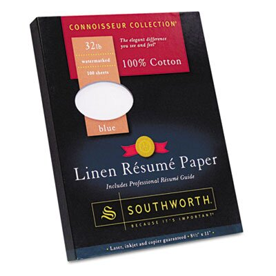 Southworth Company 100% Cotton Premium Linen Résumé Paper, 32 lbs., 8-1/2 x 11, Blue, 100 sheets