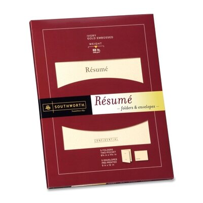 "Southworth Company Resume Folders/Envelopes, 9""x12"", 5 per Pack, Ivory"