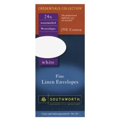Southworth Company Fine Linen Envelopes, 24 lb., No. 10, 50 per Box, White
