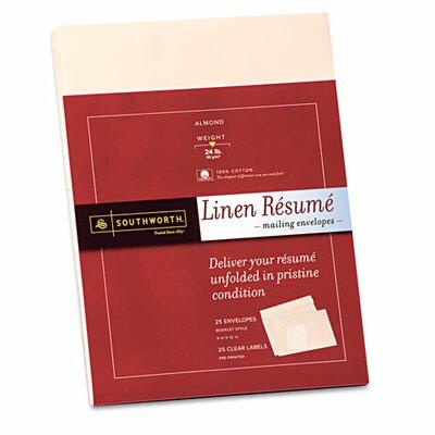 Southworth Company Resume Presentation Envelopes, 9 x 12, 25/Pack, White
