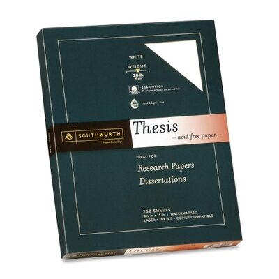 "Southworth Company Thesis Paper, Fine, 20 lb., 8-1/2""x11"", 250 per Pack, Bright White"