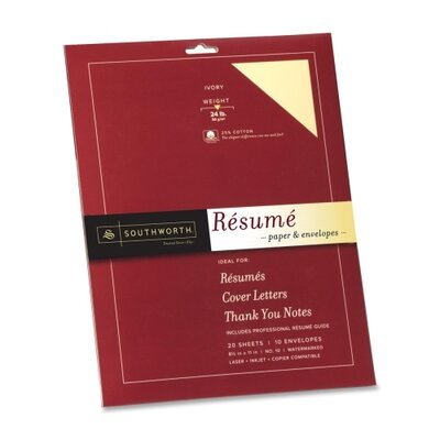 "Southworth Company Resume Kit, 8-1/2""x11"", 24 lb., 20 Sh/10 Envelopes, Ivory"
