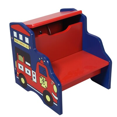 Storage Step Stool with Fire Engine Motif