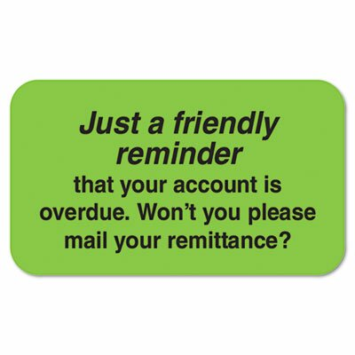 Tabbies Medical Labels, Friendly Reminder, 1-1/2 x 7/8, Fluor Green, 250/Roll