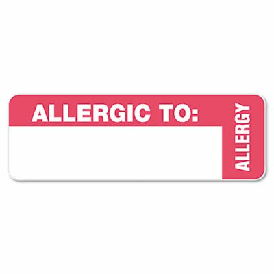 Tabbies Medical Labels for Allergy Warnings, 3 x 1, White, 175/Roll