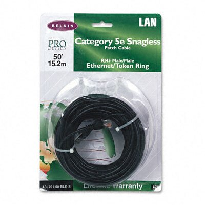 Belkin Cat5E Snagless Patch Cable, Rj45 Connectors, 50 Ft.