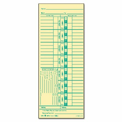 Tops Business Forms Time Card for Acroprint and Lathem, 500 / Box