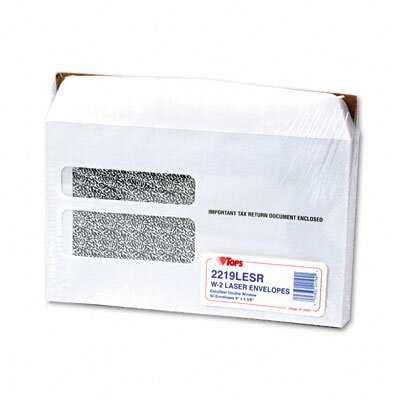 Tops Business Forms Double Window Tax Form Envelope W-2 Laser Forms, 50/Pack