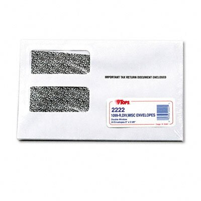 "Tops Business Forms Double Window Tax Form Envelope / 1099R / Misc Forms, 9"" X 5-5/8"", 24/Pack"