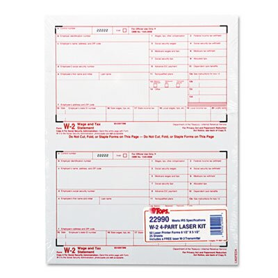 Tops Business Forms W-2 Tax Form Four-Part Carbonless, 50 Forms