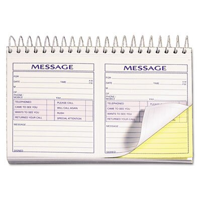 Tops Business Forms Spiralbound Message Book, Carbonless Duplicate, 200 Sets/Book