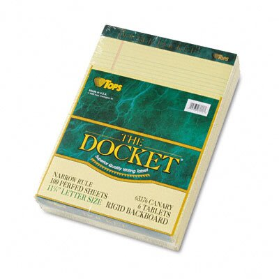 Tops Business Forms Double Docket Ruled Pads, Narrow Rule, Letter, 100 Sheets, 6-Pack
