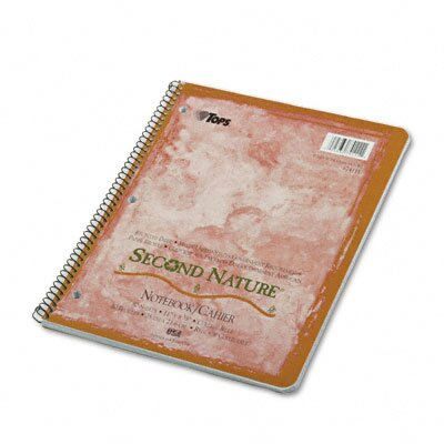 Tops Business Forms Second Nature Subject Wirebound Notebook, College Rule, Ltr, WE, 80 Sheets