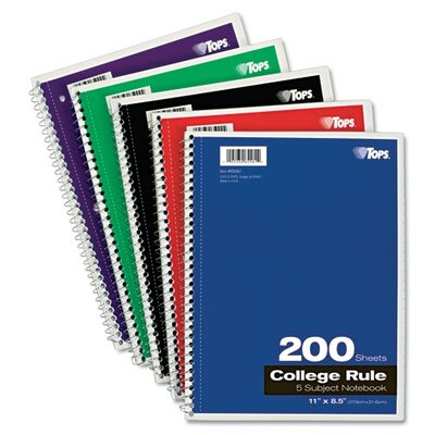 Tops Business Forms Wirebound 5-Subject Notebook, College Rule, 200 Sheets/Pad