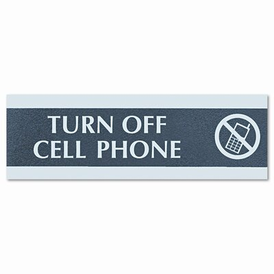 "U.S. Stamp & Sign Century Series ""Cell Phones Must Be Turned Off"" Sign, 9 x 1/2 x 3, Black/Silver"