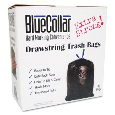 Unisan Bluecollar Drawstring Trash Bags, 80/Box