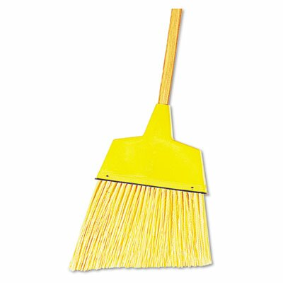 "Unisan Angler Broom, Plastic Bristles, 42"" Wood Handle, Yellow"