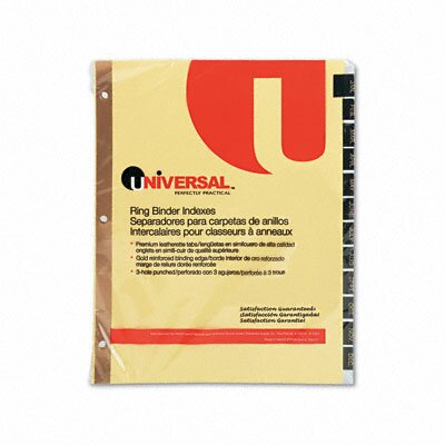 Universal® Leather-Look Mylar Tab Dividers, 12/Set