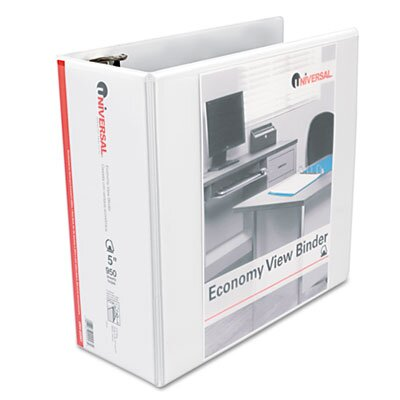 Universal® Economy D-Ring Vinyl View Binder, 5in Capacity