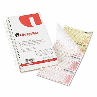 Universal® Wirebound Message Books, 400 Sets/Book
