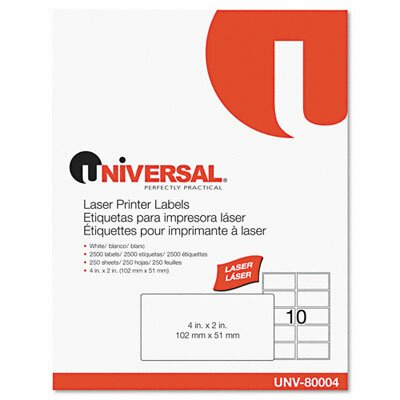 Universal® Laser Printer Permanent Labels, 2500/Box