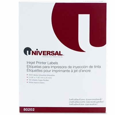 Universal® Inkjet Printer Labels, 3000/Box