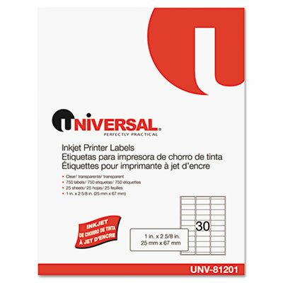Universal® Inkjet Printer Labels, 30/Sheet, 750/Pack